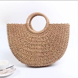 Sale💖👜👒Handmade Straw Braided Circular Handbag